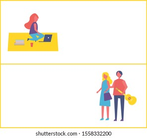 Girl having rest in park sitting on rug, couple walk together with guitar. Lady silhouette with laptop, paper cup of coffee, studying and relaxing