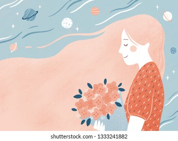 Girl holding a bouquet