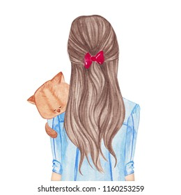Girl holding little cat. Hand drawn watercolor illustration