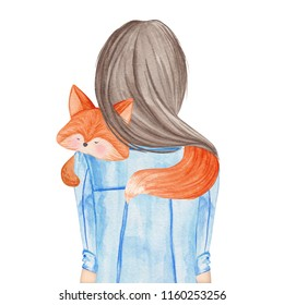 Girl holding little fox. Hand drawn watercolor illustration