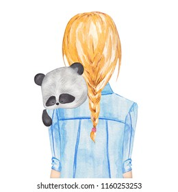 Girl holding panda. Hand drawn watercolor illustration