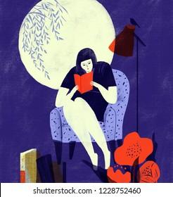 Girl illustration of a serious reading on the sofa under the moon