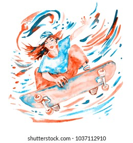 Watercolor Skateboard Images, Stock Photos & Vectors