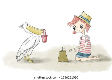 Girl kid with red hair playing on the beach with sand, sandcastle and pelican - Watercolor illustration hand painted isolated on white background