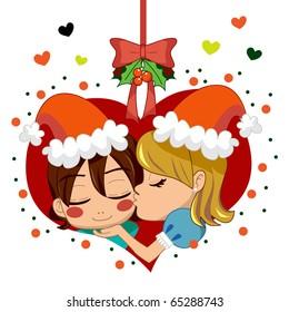 Girl kissing boy under mistletoe branch celebrating love in Christmas.