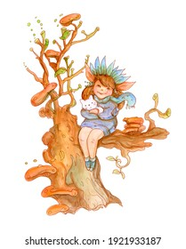 Girl with Kitty on the magic Tree. Watercolor illustration.