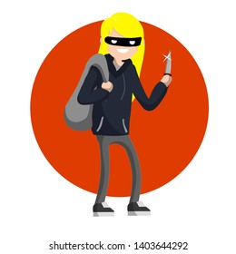 Girl with the knife. dangerous woman in a sweatshirt in a threatening pose. the evil girl is a bully in a mask. female felony. robber thief with a bag - Cartoon flat illustration