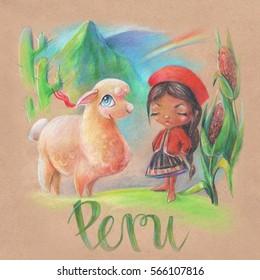 girl with a Lama in Peru