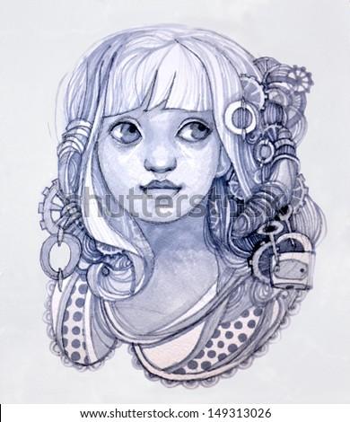 girl lock keys drawing girl big stock illustration 149313026