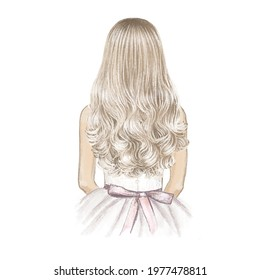Girl with long blonde hair like a doll. Hand drawn illustration