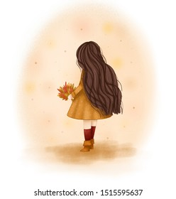 girl with long dark curly hair standing in beautiful yellow dress with a bouquet of autumn leaves. Back view