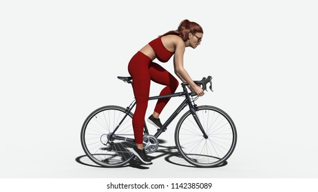 Girl with long hair on a bicycle, athletic woman in sports outfit riding a bike on white background, side view, 3D rendering