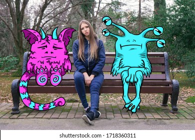 A girl with long hair is sitting and sad on a Park bench with her imaginary monster friends. Drawing on top of the photo