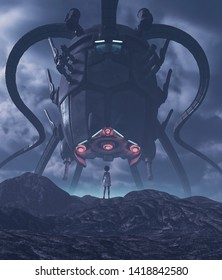 Girl looking to a giant alien ship in front of her,3d illustration