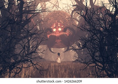 Girl looking at giant spider in creepy forest,3d rendering