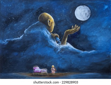 girl looking at the moon before bedtime