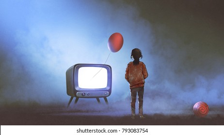 girl looking at red balloon floating coming out of television on dark background, digital art style, illustration painting