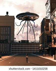 Girl looking at UFO saucer in abandoned city,3d rendering