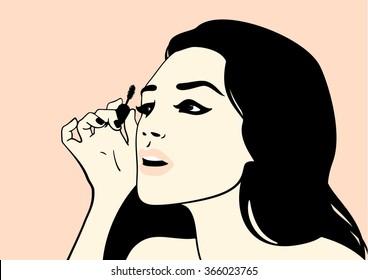 Girl with mascara brush (raster version)