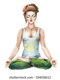 A girl meditating in the lotus position. Hand drawn by watercolor. Raster illustration