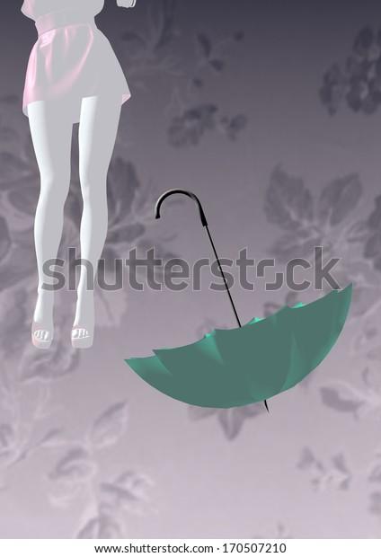 girl in mini dress standing next to an upturned umbrella, over a grey background, 3D illustration, raster illustration