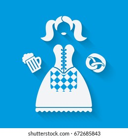 Girl in national dress with beer mug and pretzel. Oktoberfest beer festival concept in white and blue colors. illustration