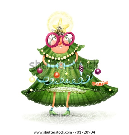a girl in a new years christmas tree suit with toys and a star a white