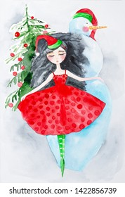 Girl in new year's dress dancing on the background of a Christmas tree and a snowman. Watercolor illustration