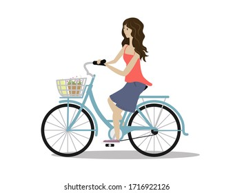 The girl is on a bicycle.