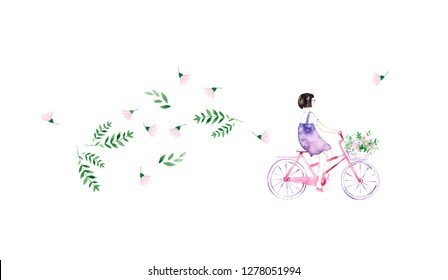 Girl on bicycle in flowers. Illustration