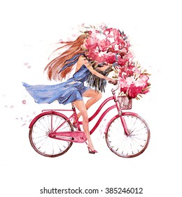 girl on bike.  bicycle. bike. peony. peonies.  this picture can be used as a background , an independent object, as decoration, in postcards , wallpaper , printing.jpg