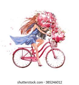 Bike Woman Drawing Images Stock Photos Vectors Shutterstock