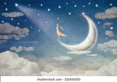 Girl on moon  admires  the night sky  - illustration art