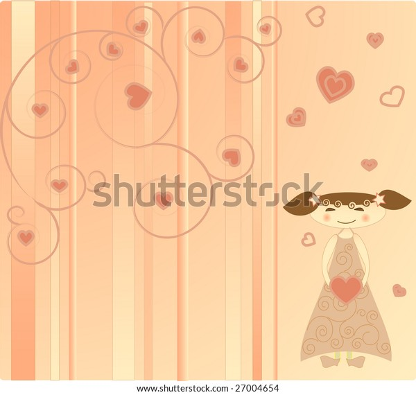 The girl on the pink background with hearts