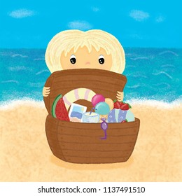 Girl on sea with summer treasures. Illustration for children`s book, games, decoration, magazine, shop, cartoon. Cute character