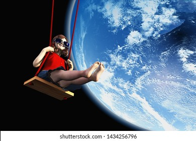 Girl on the swing in space..,3d render