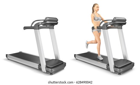 Girl on a treadmill and an empty running track. 3d images isolated on white.