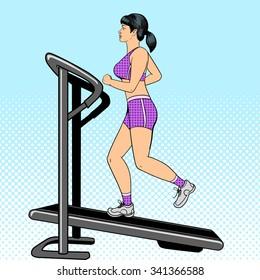 Girl on treadmill pop art style raster illustration. Comic book imitation