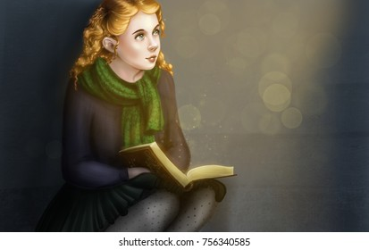 girl with an open book