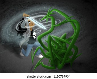 A girl (or boy with long hair) prepares to stab a magic sword into a monster composed of a ball of green tentacles.  The tween is wearing jeans, a gray hoodie, and a T-shirt with a skull on it.