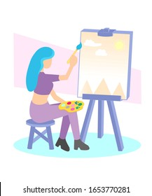 girl painting a picture, girl drawing