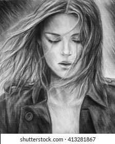 The girl pencil drawing. A charcoal drawing. Black-and-white portrait of a girl. Fashion. Beautiful portrait of a girl.