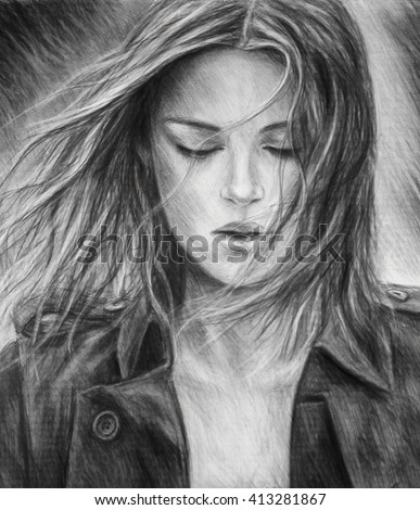 Girl Pencil Drawing Charcoal Drawing Blackandwhite Em Ilustracao
