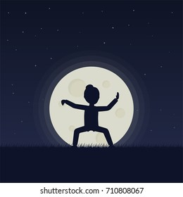Girl performing qigong or taijiquan exercises in the evening. Woman practicing Tai Chi. Ancient chinese healthcare practice. Flat style. Raster version.