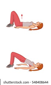 Girl with pigtail performs exercises lifting the pelvic girdle of the position lying on the back on a white background