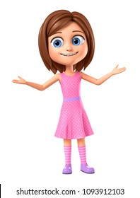 Girl in pink dress on white background hands up. 3d render illustration.