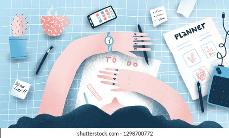 Girl planning her things with to do list. Workplace with different stationery. Modern illustration.