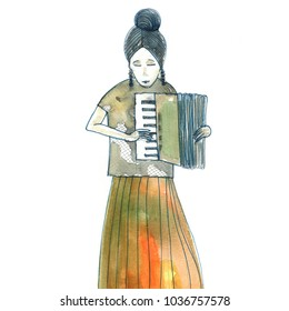 Girl playing on the accordio. Watercolor painting.
