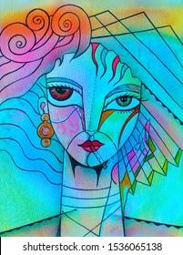 Girl portrait Beauty woman. Cubism illustration