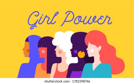 Girl Power. Modern flat character. Simple character of woman lady of different nationalities, races, arab, asian, european, african. Woman character, concept in flat color graphic. Illustration